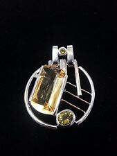 Citrine and Peridot with Diamond Set in Silver with Gold, Pendant