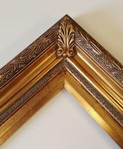 "Picture Frame- 8x10"" Ornate Dark Gold & Baroque Bronze Color- Wood/Gesso- #2348"