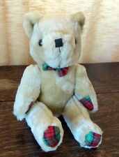 "Adorable Aspen Direct Jointed Soft Plush Tartan Teddy Bear with Bow 10 1/2"" tall"