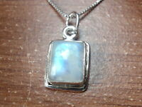 Small Blue Moonstone Rectangle 925 Sterling Silver Pendant