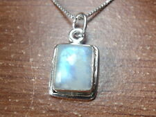 Small Blue Moonstone Rectangle 925 Sterling Silver Necklace