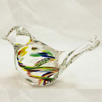 Art Glass Murano colorful latticino beautiful bird figurine paperweight New