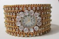 Bonetto Wide Crystal Rhinestone Cuff Quartz Watch - Runs