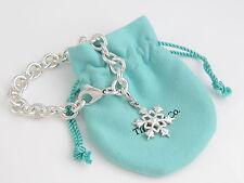 Tiffany Silver RARE Snowflake Snow Flake Charm Bracelet Poinsettia Leaf Design!