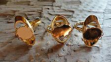 Oval orb Ring Hamilton Gold Adjustable 10x14mm Lacy Bezel (Pkg 3) 0257