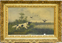 Antique French 1912 Oil Canvas painting hunting dogs field signed
