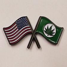 - Brand New - Marijuana Pot Hp105 American & Weed Flags - Hat Pin
