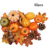 Halloween Autumn Maple Leaf Wreath Pumpkin Artificial Garland Home Party Decor