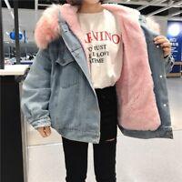 Lady Fleece Lined Sherpa Denim Jackets Baggy Drop Shoulder Faux Fur Hooded Coats