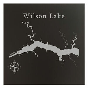Wilson Lake Map Wall Art Office Decor Gift Engraved Alabama