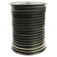 "1/4"" Genuine Leather Flat Cord - Black - 6mm Cowhide Strap - 10 25 125 Feet"