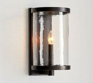 Pottery Barn Murano Sconce Bronze Metal & Glass Light Lighting New