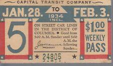 Trolly/Bus pass capital Transit Wash. DC--1934-----62