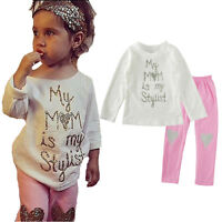 2PCS Toddler Kids Baby Girl Outfits Clothes Suit T-Shirt Tops+Pants Leggings Set