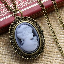 Women Ladies New White Beauty Bronze Retro Pocket Necklace Pendant Watch Chain