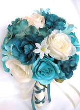 Wedding Bridal Bouquets 17 piece package Silk Flowers TURQUOISE TEAL AQUA Cream