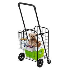 Utility Shopping Cart Foldable Jumbo Basket Grocery Laundry with Wheel Black