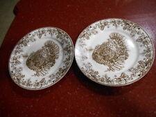 4 WILLIAMS SONOMA Plymouth Woodland Turkey Toile Salad Plates