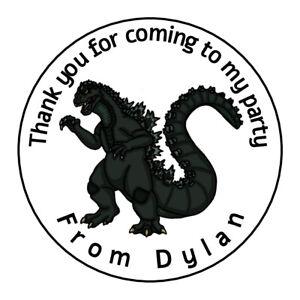 Personalised Dinosaur Godzilla Birthday Thank You Stickers Party Bag Sweet Cone