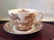 Vtg Rare Royal Staffordshire Huge Joke Cup & Saucer Brown Tonquin, Clarice Cliff