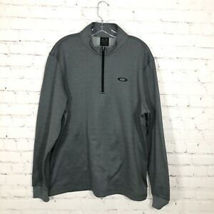 Oakley 1/4 Zip Pullover Athletic Top Mens Size L Gray Pull Over Fleece Lined