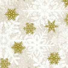 MAGIC OF WINTER GOLD SNOWFLAKES FABRIC METALLIC