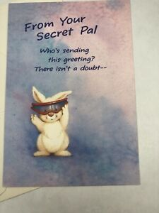 Hallmark Secret Pal Greeting Card Bunny Rabbit with Goggles Pink Purple New