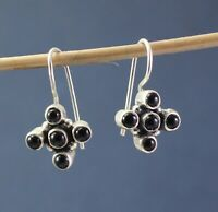 Solid 925 Sterling Silver Jewelry Black Onyx Gemstone Handmade Gift Earring