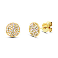 0.16 CT 14K Yellow Gold Natural Round Cut Diamond Pave Circle Disc Stud Earrings