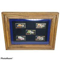 Vintage Framed USPS Metal Stamp Replicas Cars Hot Rods Pin Pinback Winco Intl.