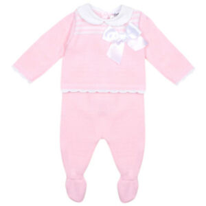 Pex ANGELINE knitted 2pc baby girls top and pants set - Pink set/White bow