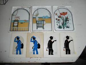 7 Stück Alte Glasfensterbilder zum Hängen ( Schöne Motive) 80er Jahre Rarität  !