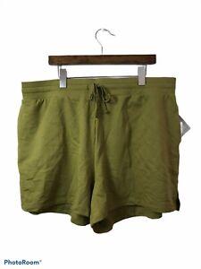 Ava & Viv 1X Shorts Olive Green Cotton Blend Stretchy Elastic Waist Drawstring