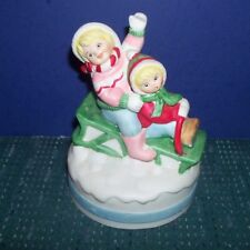 Christmas Music Box- 2 Kids on a Sled - White Christmas