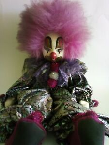 """Vintage 70's Hand Painted Face Clown Doll Natural Fur Hair 15"""""""