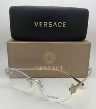 New VERSACE Eyeglasses MOD.1254-B 1252 54-15 Rimless Gold Cat Eye with Crystals