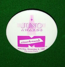 1986 JUNO AWARDS Muchmusic Pre Party Pin, Badge, Button, Canada Vintage Pinback