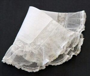 Vintage WIde Lace White Wedding Handkerchief Hankie