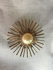 Womens Pin With Center Faux Pearl And Sparkles Surround