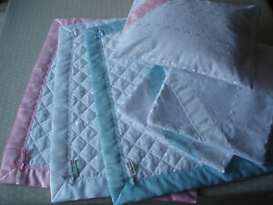 Handmade Baby Quilt and Pillowcase in Broiderie Anglaise with Satin Binding Edge