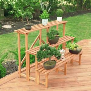 Leisure Season Plant Stand 3-Tier Wood Step Outdoor Farmhouse Medium Brown