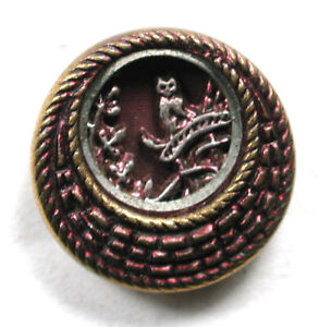 """Antique Brass Button Cat on Dormer Roof Cuff Size 9/16""""   1890s"""