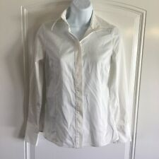 Banana Republic Non Iron Fitted White Long Sleeve Stretch Blouse Womens 0 Petite