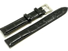20mm Black Alligator Grain Leather Replacement Watch Band