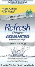 Refresh Optive Advanced 2 bottles 0.33 fl.oz - New - Free Shipping