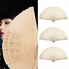 Chinese Asian Fragrant Vintage Wooden Bamboo Folding Hand Fan Hollow Gift Bid
