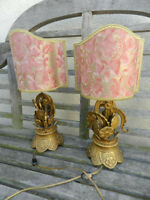 Antique Pair Of French Art Deco Bronze Table Lamps With Fortuny Shades
