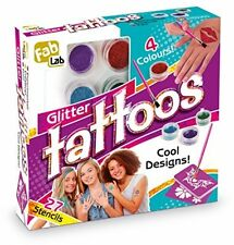 FabLab Glitter Tattoos Kit Create Cool Designs Kids Creative Pretend Tattoo Set