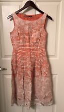 3791bbd265 Elie Tahari Coral   Beige Linen Floral Sleeveless Tailored Pleated Dress EUC