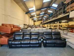 Ex-display Moreno black leather electric recliner 3+2 seater sofas